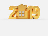 Real estate concept. Golden 2019 New Year and house icon isolated on white background. 3D illustration - 233505198