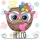 Cute Owl in a pink glasses with heart - 233506720