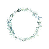 Watercolor wedding wreath with olive and eucalyptus branch. Botanical hand drawn illustration. Rustic design. - 233507726