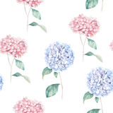 Watercolor seamless pattern with blue hydrangea. Flower print. Hand drawn illustration - 233507753