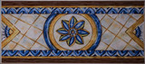 Detail of the traditional tiles from facade of old house. Decorative tiles.Valencian traditional tiles. Floral ornament. - 233508143