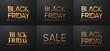 Black Friday Sale. Banner, poster, logo golden color.