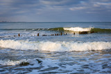 Baltic Sea beach in stormy weather, Poland - 233512787