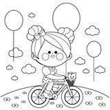 Girl on a bicycle at the park. Black and white coloring book page
