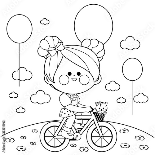 Girl on a bicycle at the park. Black and white coloring book page - 233514963