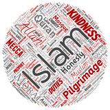 Vector conceptual islam, prophet, mosque round circle red word cloud isolated background. Collage of muslim, ramadam, quran, pilgrimage, allah, duties, art, calligraphy, oriental, tradition concept - 233526399