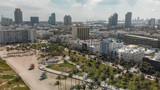 Aerial view of Miami Beach skyline and coastline on a sunny day, Florida - 233528370
