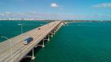 Aerial view of traffic along Rickenbacker Causeway, Miami - Florida - 233530179