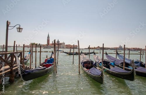 fototapeta na ścianę View of the Venetian Lagoon with gondolas and Island of St. George in the background, Venice, Veneto, Italy