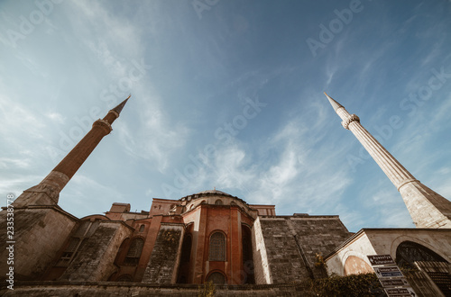 istanbul turkey november 2018 super wide angle view of hagia sophia mosque - copy space - negative space - sunny day clear sky