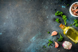 Cooking background with spices, olive oil and herbs, dark blue concrete background, copy space top view - 233539992