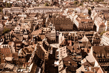 France overhead view of rooftops across the city of Strasbourg
