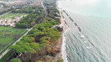 Aerial view of Pinewood along the sea after a storm
