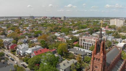 Aerial view of Savannah skyline from city center, Georgia