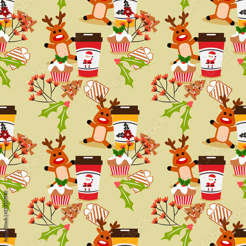 fototapeta na ścianę Christmas coffee and cookies seamless pattern.
