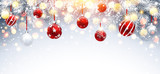 Christmas Decorations with Red Balls and Fir Branches. Vector
