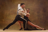 Flexible young modern couple dancing tango in studio. Fashion portrait of attractive dancing couple. Man and woman. Passion. Love. perfect skin facial and make-up. Human emotions - love and passion - 233574714