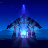 Christian Christmas with Birth of Jesus and Star on Blue Background