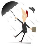 Strong wind, rain and man with umbrella isolated illustration. Whirlwind, rain and man with umbrella lost hat isolated on white illustration