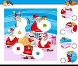 match pieces puzzle with Santa Characters - 233589706