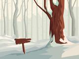 Horizontal illustration of cartoon snowy forest with wooden signpost. - 233594309