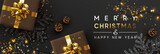 Christmas banner. Background Xmas design of sparkling lights garland, with realistic gifts box, black snowflake and glitter gold confetti. Horizontal christmas poster, greeting cards, headers, website - 233595304