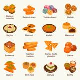 Arabic sweets vector illustration set - 233596586
