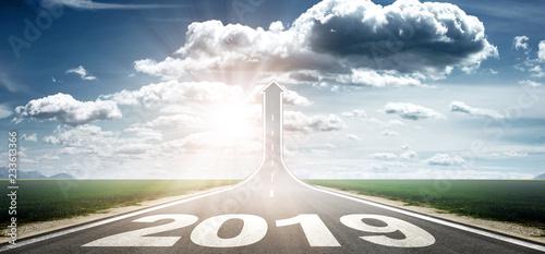 Leinwanddruck Bild Vorwärts ins neue Jahr 2019!