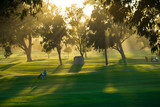 Golfing under the setting sun