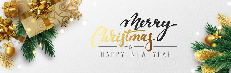 Christmas banner, Xmas sparkling lights garland with gifts box and golden tinsel. Horizontal christmas posters, greeting cards, headers, website.
