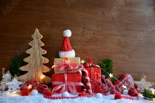 Leinwanddruck Bild Weihnachtskarte - Grußkarte - Geschenke liebevoll verpackt