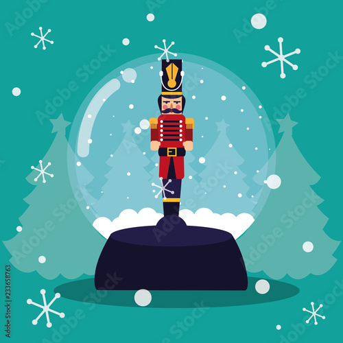 nutcracker soldier in crystal ball