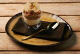 Tasty New york cheese cake with mousse with apple cream - 233661561