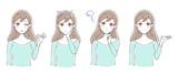 女性のイラスト 表情セット - 233681338