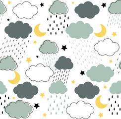 Seamless childish pattern with clouds, raindrops, dots, lines, moon and stars in the night rainy sky. Scandinavian style kids texture for fabric, wrapping, textile, wallpaper, apparel in grey, blue
