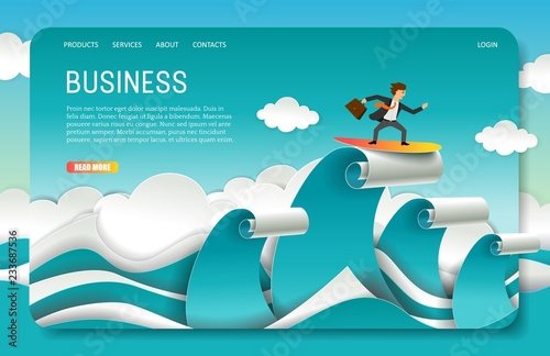vector paper cut business landing page website template buy photos