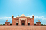 Agra, India,september 2018. Front view of the mosque next to the Taj Mahal