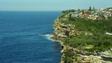 Aerial view of shoreline and Macquarie Lighthouse Sydney Australia - 233695968