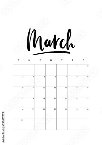 March Calendar Planner 2019 Week Starts On Sunday Part Of Sets Of