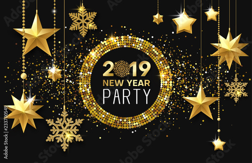 new year 2019 party shiny poster or invitation card with golden stars and snowflakes