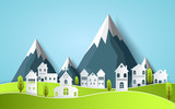 beautiful design with views of the country house.art paper Vector