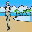 Esquisse d'une femme à la plage