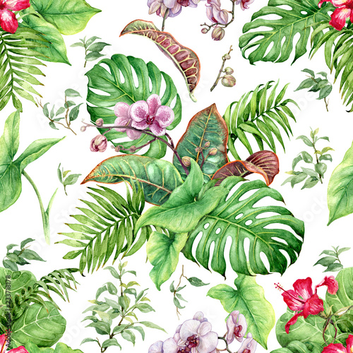 Watercolor Tropical Leaves and Flowers Seamless Pattern © val_iva