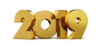 New 2019 year golden isolated on white background. 3D rendered. Illustration for the new year. Christmas illustration.