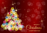 Christmas tree made blurred light, vector postcard or greeting. - 233727794