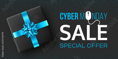 Cyber monday sale horizontal poster or banner for seasonal discounts. Black box with realistic blue bow on code background. Sale concept. Vector illustration.
