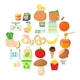 Shop with vegetables icons set. Cartoon set of 25 shop with vegetables vector icons for web isolated on white background