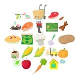 Street market icons set. Cartoon set of 25 street market vector icons for web isolated on white background