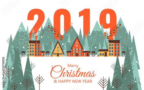 merry christmas card with winter landscape happy 2019 new year card with winter village