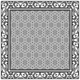 Template Print for Fabric. Pattern of floral geometric ornament with Border. illustration. Seamless. For Print Bandana, Shawl, Carpet - 233761120
